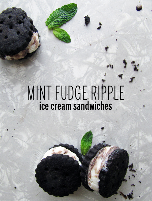 Mint Fudge Ripple Ice Cream Sandwiches // take a megabite