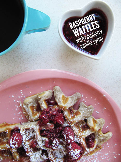 Raspberry Waffle with Raspberry Vanilla Maple Syrup // take a megabite