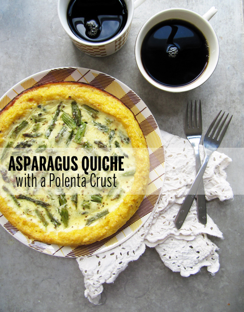 Asparagus Quiche with Polenta Crust // take a megabite