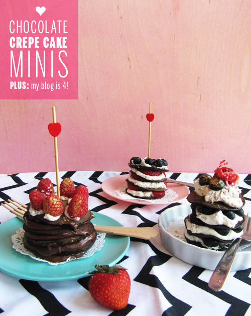 Chocolate Crepe Cake Minis // take a megabite