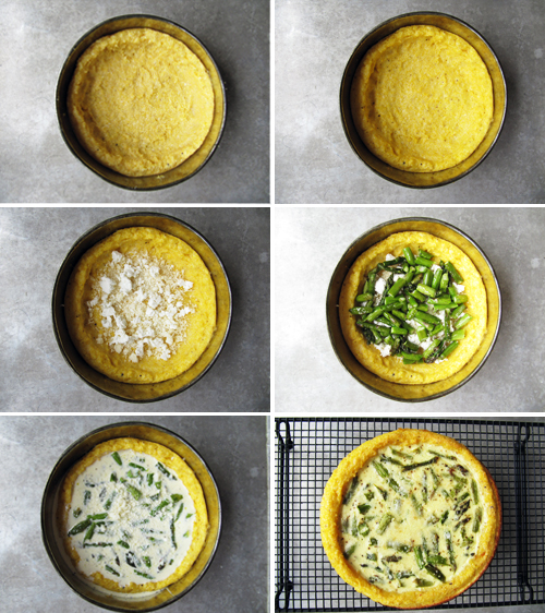 Asparagus Quiche with a Polenta Crust // take a megabite