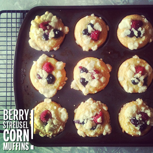 Berry Streusel Corn Muffins // take a megabite