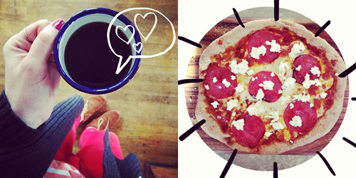 Coffee + Pizza = love // take a megabite