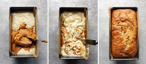 Pumpkin and Banana Marble Loaf // take a megabite