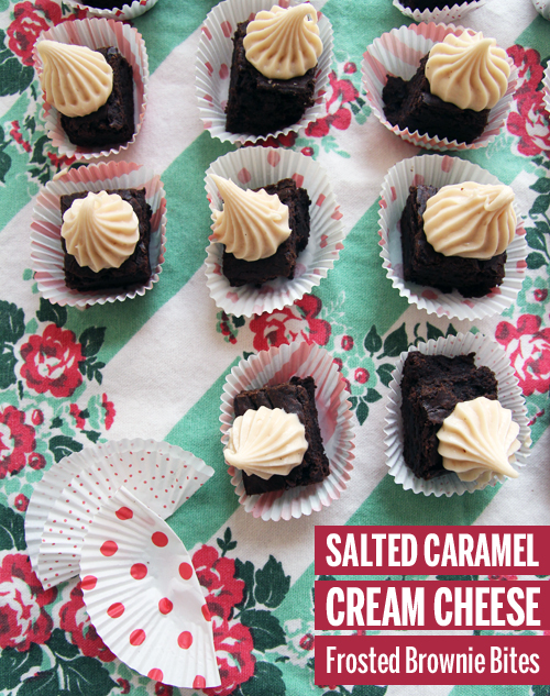 Salted Caramel Cream Cheese Frosting topped Brownie Bites // take a megabite