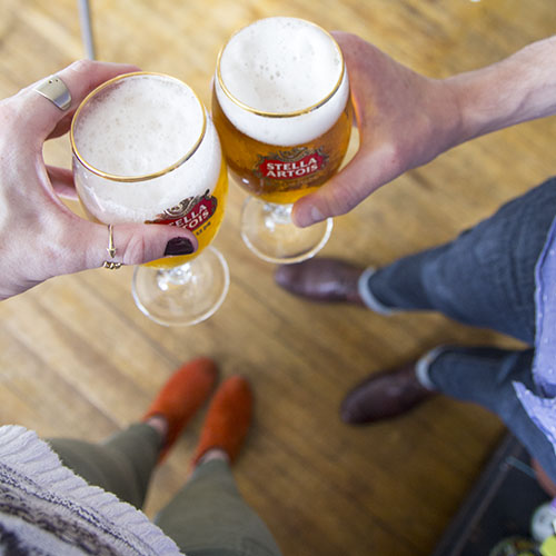 Cheers with Stella Artois // take a megabite