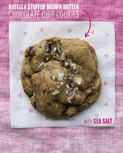 Nutella Stuffed Brown Butter Chocolate Chip Cookies // take a megabite