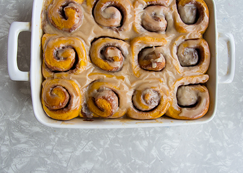 Pumpkin Cinnamon Rolls // take a megabite