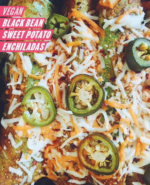 Vegan Black Bean Sweet Potato Enchiladas // take a megabite