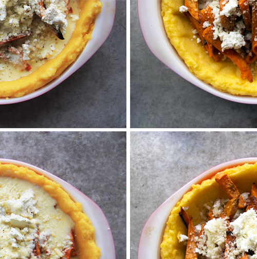 Gluten-Free Sweet Potato Feta Polenta Crust Quiche // take a megabite