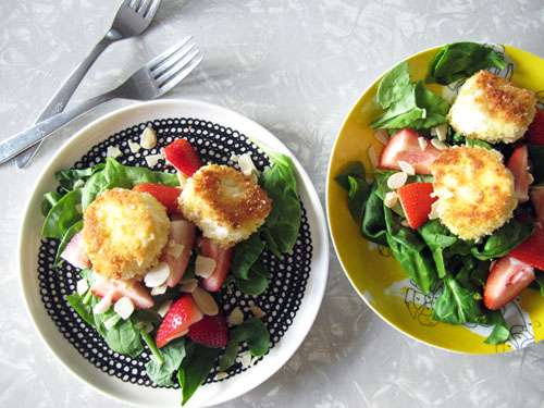 Fried Goat Cheese and Strawberry Salad