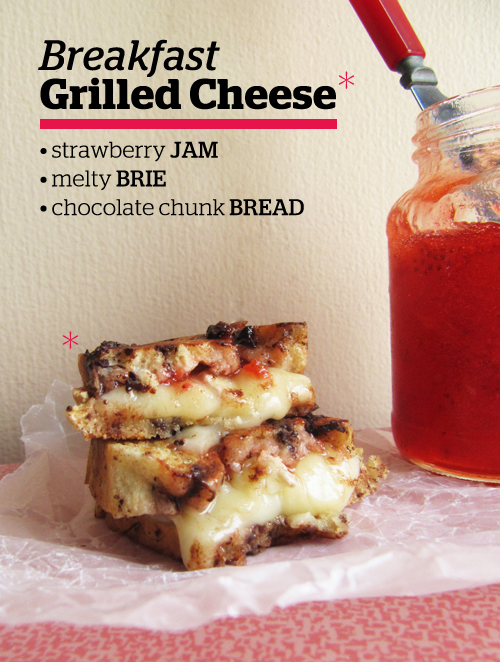 Breakfast Grilled Cheese: Brie, Jam, and Chocolate Chunk Egg Bread
