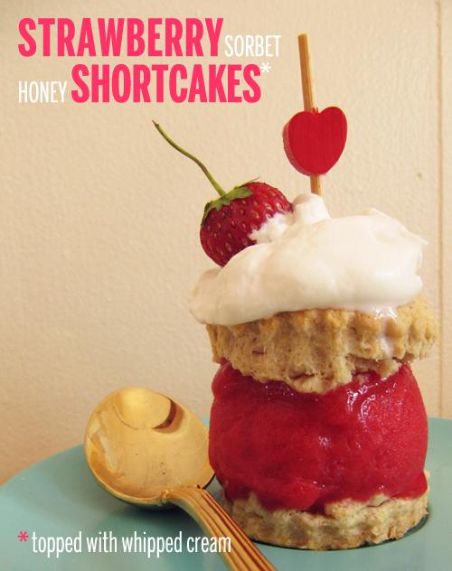 Strawberry Sorbet Honey Shortcakes