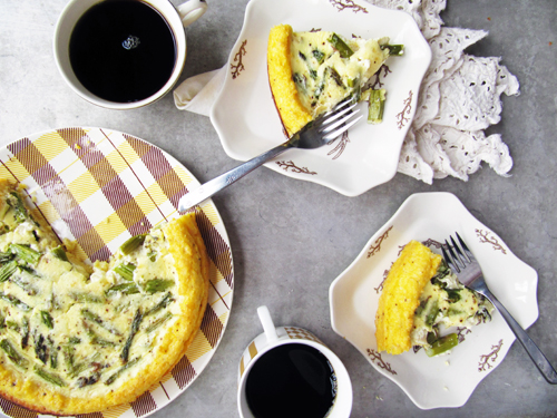 Asparagus Quiche with a Polenta Crust (gluten-free)