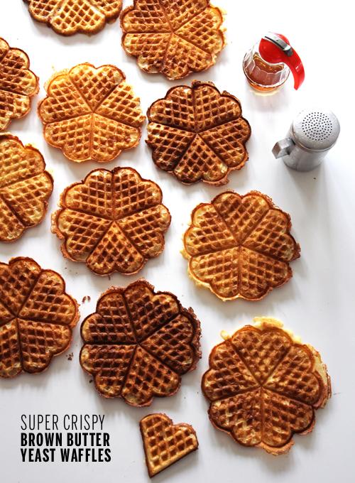 Super Crispy Brown Butter Yeast Waffles // take a megabite